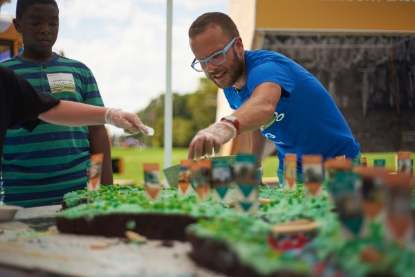 A scale model of Fairmount Park made out of chocolate cake is made at The Oval. August 14, 2016